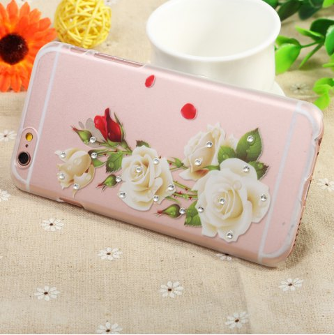 Trendy Diamond Style Protective Case for iPhone 6 / 6S Ultra-thin PC Hard Mobile Shell - WHITE ROSE TRANSPARENT Mobile