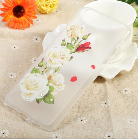Buy Diamond Style Protective Case for iPhone 6 / 6S Ultra-thin PC Hard Mobile Shell - WHITE ROSE TRANSPARENT Mobile