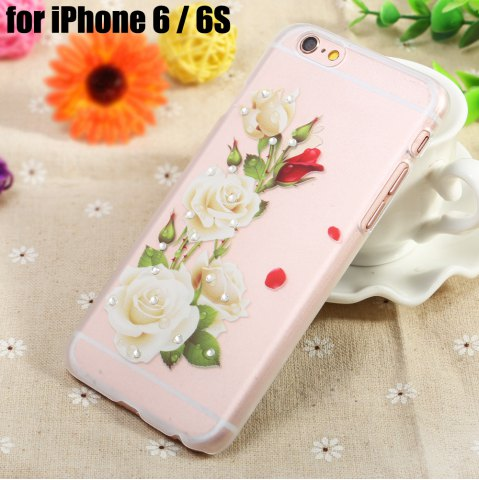 Outfits Diamond Style Protective Case for iPhone 6 / 6S Ultra-thin PC Hard Mobile Shell - WHITE ROSE TRANSPARENT Mobile