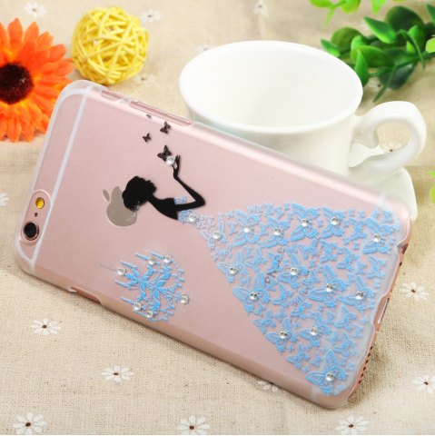 New Diamond Style Protective Back Case for iPhone 6 / 6S Ultra-thin PC Hard Mobile Shell - BLUE SKIRT TRANSPARENT Mobile
