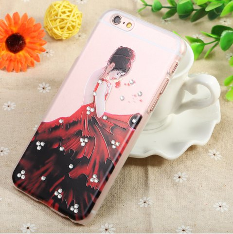 Cheap Diamond Style Protective Back Case for iPhone 6 / 6S Ultra-thin PC Hard Mobile Shell - LADY TRANSPARENT Mobile