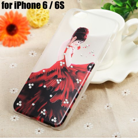 New Diamond Style Protective Back Case for iPhone 6 / 6S Ultra-thin PC Hard Mobile Shell - LADY TRANSPARENT Mobile