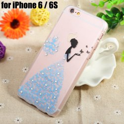 Diamond Style Protective Back Case for iPhone 6 / 6S Ultra-thin PC Hard Mobile Shell - TRANSPARENT BLUE SKIRT