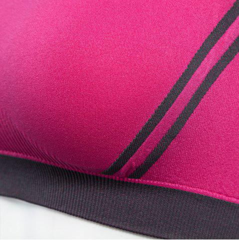 Chic Seamless Yoga Striped Sports Bra No Rim for Outdoor Running - L ROSE RED Mobile