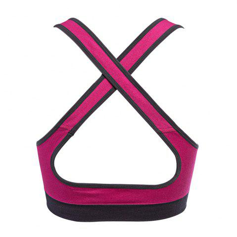 Unique Seamless Yoga Striped Sports Bra No Rim for Outdoor Running - L ROSE RED Mobile