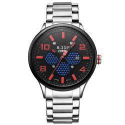6.11 GD008 Photoelectric Conversion Male Watch Japan Movt Mineral Glass Date Display - SILVER/RED