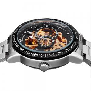 Huhang Mechanical Watch Needles Hour Marks Round Dial with Steel Watchband for Men -