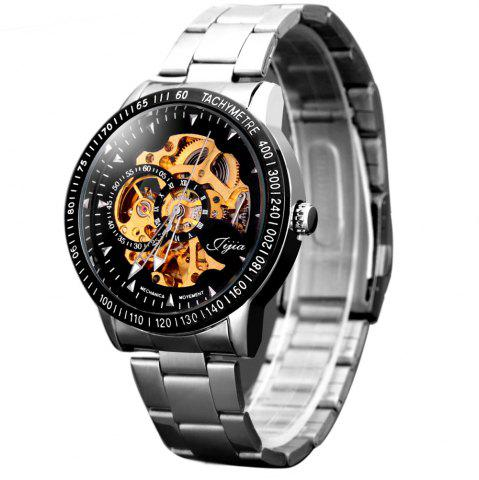 Discount Huhang Mechanical Watch Needles Hour Marks Round Dial with Steel Watchband for Men