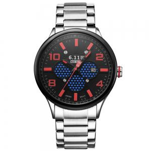 6.11 GD008 Photoelectric Conversion Male Watch Japan Movt Mineral Glass Date Display - RED WITH BLACK