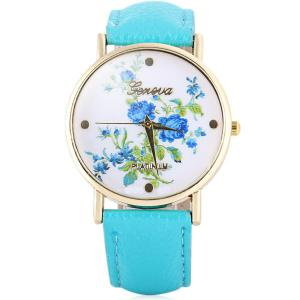 Hot Selling Geneva Quartz Flower Watch for Women Leather Band Rose Pattern - Azure - 2xl