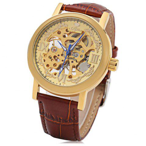 Trendy JIJIA Roman Scale Style Hollow-out Mechanical Watch for Male