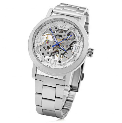 Unique JIJIA Roman Scale Style Hollow-out Mechanical Watch for Men