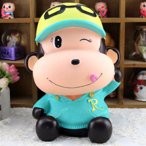 Discount Cute Monkey Shape Saving Pot Money Box Model Toy Decoration Home Bedroom BLUE