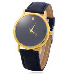 Simple Men Quartz Watch Leather Watchband Wristwatch - BLACK