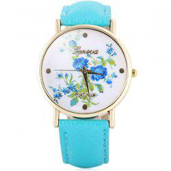 Hot Selling Geneva Quartz Flower Watch for Women Leather Band Rose Pattern