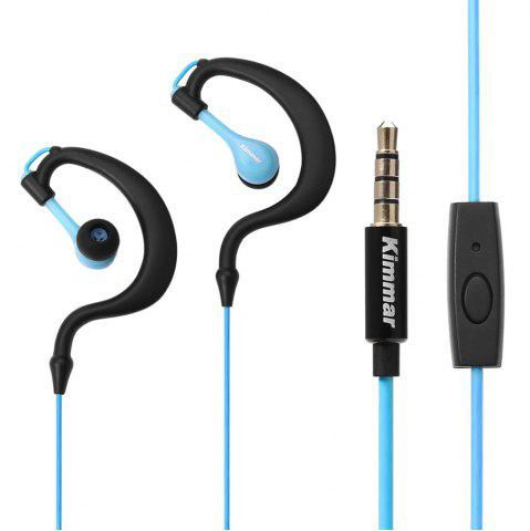 Kimmar R02 Sport Sweat Resistant Ear-hook In-ear Earphones 3.5mm Plug with Mic On-cord Control - Blue