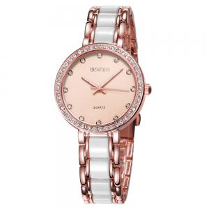 WeiQin 1033 Shell Dial Face Diamond Scale Design Female Imported Quartz Watch - Rose Gold