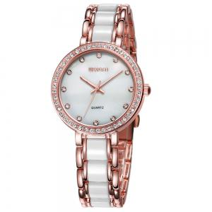 WeiQin 1033 Shell Dial Face Diamond Scale Design Female Imported Quartz Watch - Rose Gold And White