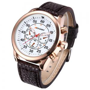 LONGBO 1036 Men Decorative Sub-dials Imported Movement Quartz Watch - WHITE AND GOLDEN