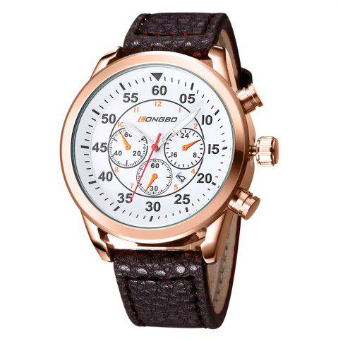 Shops LONGBO 1036 Men Decorative Sub-dials Imported Movement Quartz Watch WHITE AND GOLDEN