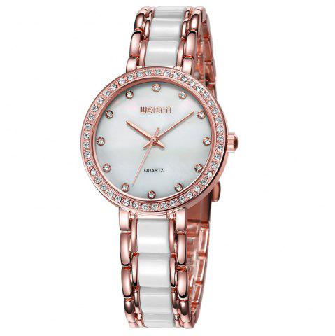 Sale WeiQin 1033 Shell Dial Face Diamond Scale Design Female Imported Quartz Watch ROSE GOLD/WHITE