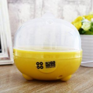 Practical Mini Electric Egg Boiler Eggs Cooker Steamer Kitchen Tool - White And Yellow - Eu Plug