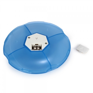 Portable Round Shaped Smart Medicine Box 4 Cell Intelligent Medicine Reminder Pill Organizer - Bleu