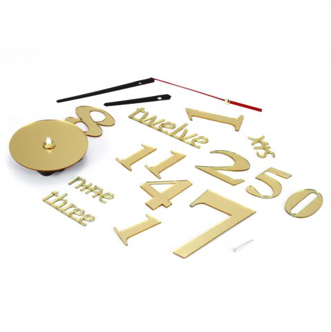 Online Fun Life Creative DIY Wall Clock with Decorative English Words Number - GOLDEN  Mobile