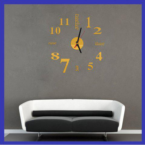 Sale Fun Life Creative DIY Wall Clock with Decorative English Words Number - GOLDEN  Mobile