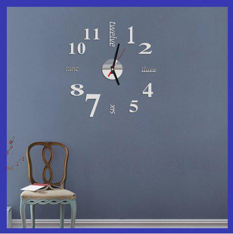 Sale Fun Life Creative DIY Wall Clock with Decorative English Words Number - SILVER  Mobile