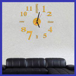 Fun Life Creative DIY Wall Clock with Decorative English Words Number - GOLDEN
