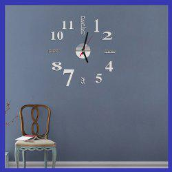 Fun Life Creative DIY Wall Clock with Decorative English Words Number - SILVER