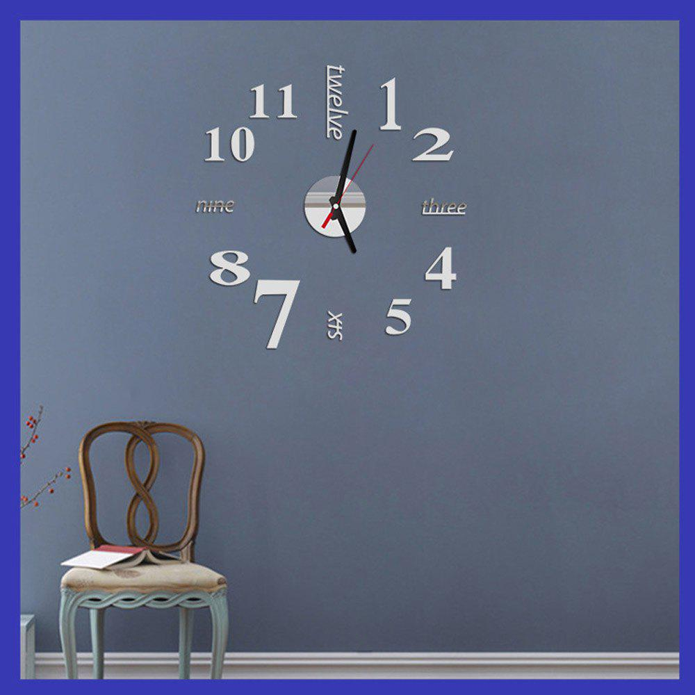 Fun Life Creative DIY Wall Clock with Decorative English Words NumberHOME<br><br>Color: SILVER; Type: Wall Clock; Style: Contemporary,Modern; Time Display: Analog;
