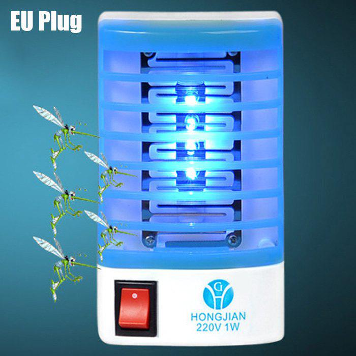 2 in 1 Mute Mosquito Killer Lamp LED Night Light Atmosphere Nightlight DecorsHOME<br><br>Size: EU PLUG; Color: BLUE AND WHITE; Power (W): 1W; Voltage input : 220V;