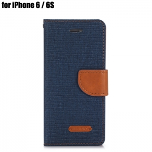 Jeans Design Flip PU Full Body Cover Case for iPhone 6 / 6S with Stand Card Holder - Blue - Xl