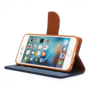Jeans Design Flip PU Full Body Cover Case for iPhone 6 / 6S with Stand Card Holder - BLUE