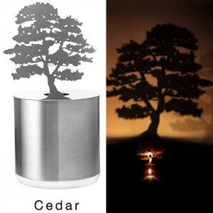 Creative Cedar Shadow Projection LED Lamp Romantic Atmosphere Candle Decor Light - Silver - Cedar