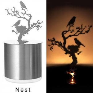 Creative Cedar Shadow Projection LED Lamp Romantic Atmosphere Candle Decor Light - SILVER CEDAR