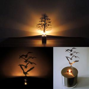Creative Magnolia Shadow Projection LED Lamp Romantic Atmosphere Candle Decor Light - SILVER MAGNOLIA