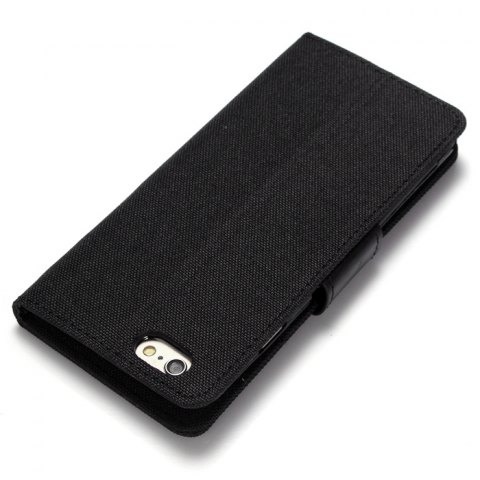 Latest Jeans Design Flip PU Full Body Cover Case for iPhone 6 / 6S with Stand Card Holder - BLACK  Mobile