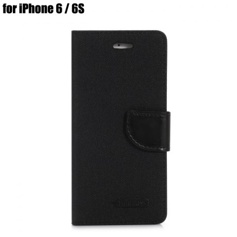 Outfits Jeans Design Flip PU Full Body Cover Case for iPhone 6 / 6S with Stand Card Holder - BLACK  Mobile