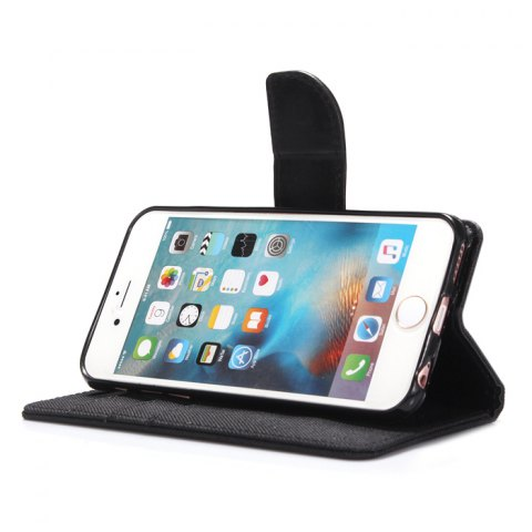 Outfit Jeans Design Flip PU Full Body Cover Case for iPhone 6 / 6S with Stand Card Holder - BLACK  Mobile