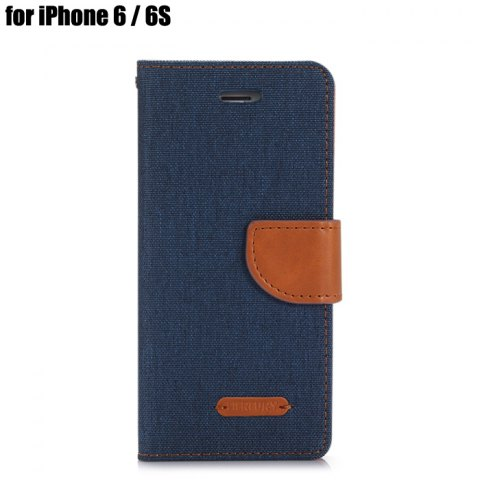 Fashion Jeans Design Flip PU Full Body Cover Case for iPhone 6 / 6S with Stand Card Holder BLUE
