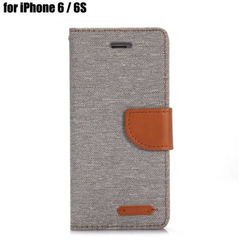Shops Jeans Design Flip PU Full Body Cover Case for iPhone 6 / 6S with Stand Card Holder - GRAY  Mobile