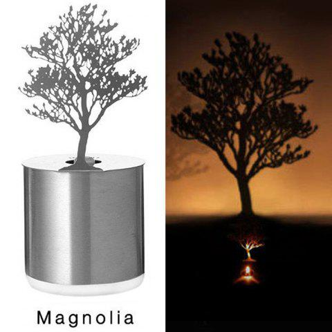 Chic Creative Magnolia Shadow Projection LED Lamp Romantic Atmosphere Candle Decor Light SILVER MAGNOLIA