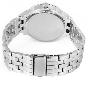 GENEVA Quartz Watch with Diamonds Round Dial and Steel Watch Band for Women -
