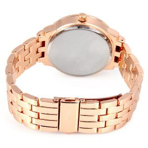 GENEVA Quartz Watch with Diamonds Round Dial and Steel Watch Band for Women - ROSE GOLD