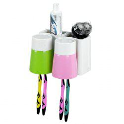 Multi-functional Plastic Toothbrush Holder with 2PCS Gargle Mug - COLORMIX