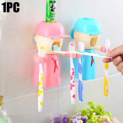 2 in 1 Automatic Toothpaste Dispenser Toothbrush Holder with Wall Sucker - APRICOT