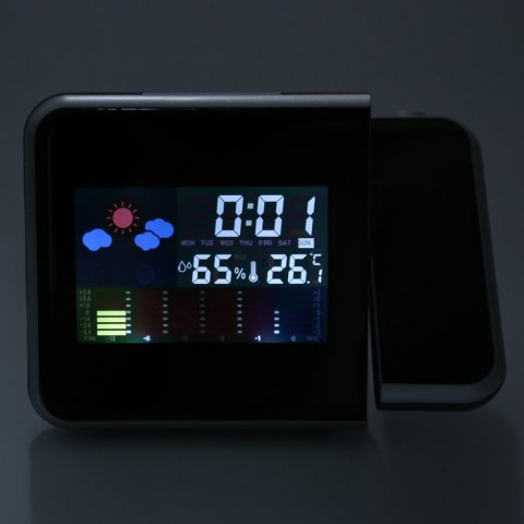 Fancy DS - 8190 LED Rotating Projection Color Screen Calendar Clock with Weather Forecast Alarm Function - BLACK  Mobile